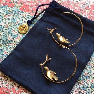 NIB Tory Burch gold hoop dove earrings